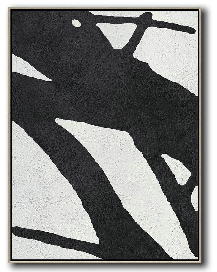 Black And White Minimal Painting On Canvas,Acrylic Painting Large Wall Art #A6S5